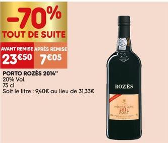 Bouteille de vin porto Rozès Late Bottled Vintage 2014 (75 cl)