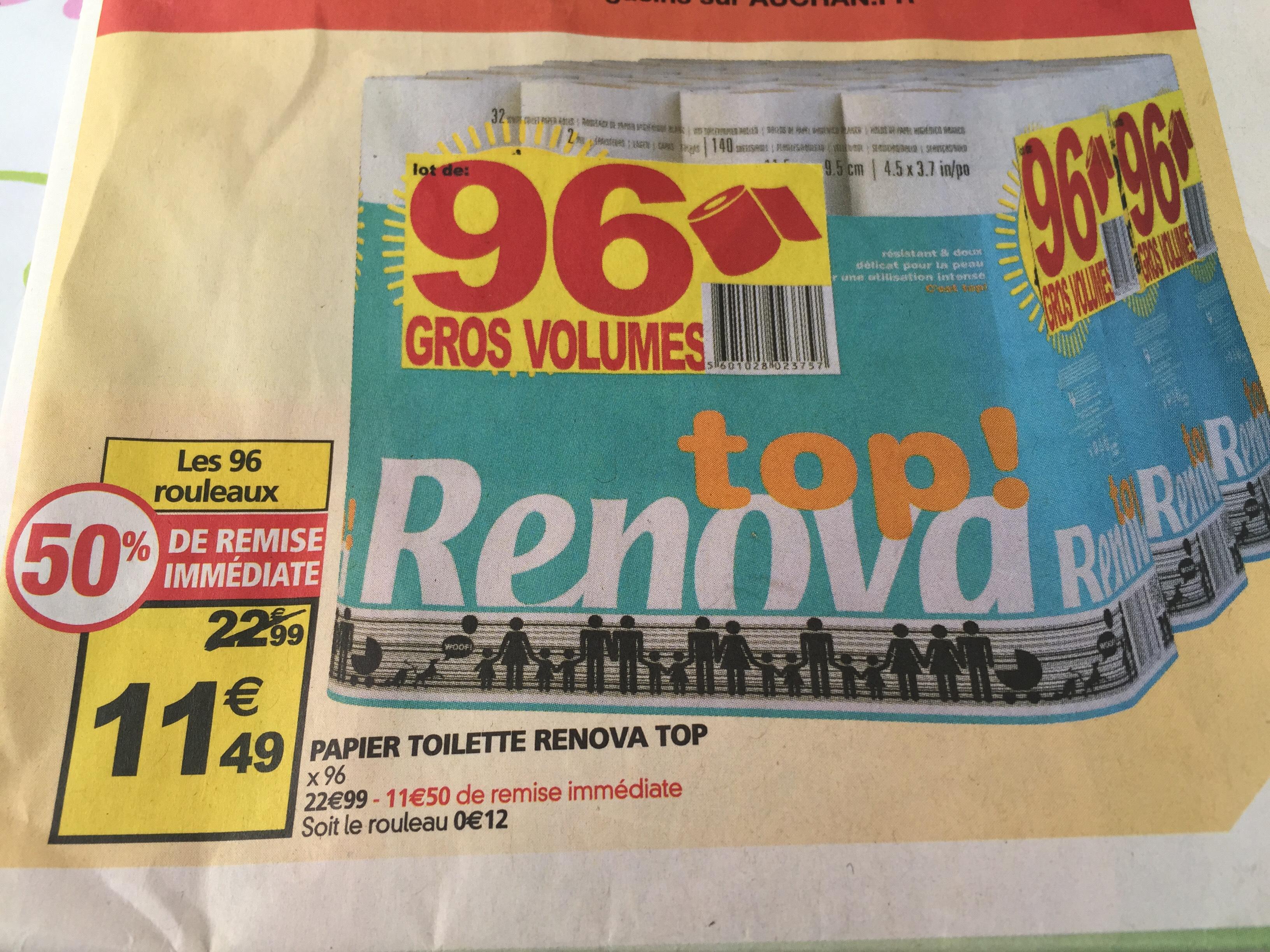 Lot de 96 rouleaux de papier toilette Rénova