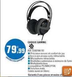Casque micro Gaming Steelseries Siberia V3
