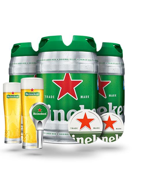 Pack de 3 fûts  Heineken + Accessoires (verres/sousbocks/poignée)