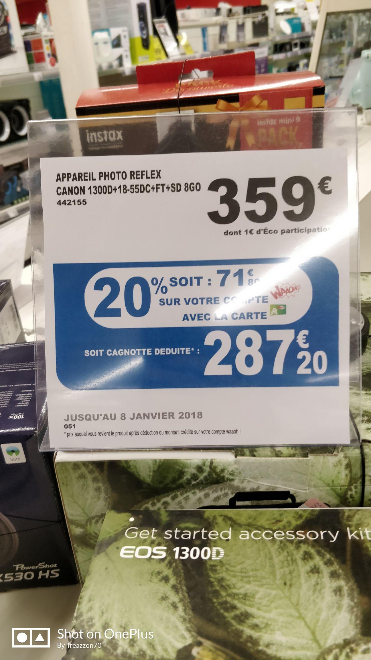 Appareil Photo Canon EOS 1300D + Objectif 18-55 mm + Sac + Carte SD 8Go (Via 71,80€ sur la carte Waaoh - Dans une sélection de magasin)