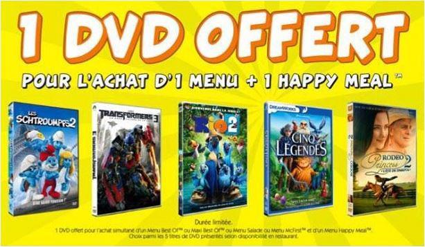 1 DVD offert pour l'achat d'un menu + un Happy Meal