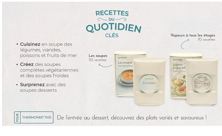 Livret de recette de cuisine et clefs pour Thermomix - Différents titres