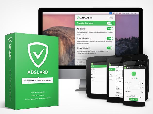 Bloqueur de publicités Adguard - Licence à vie (Pour 1 Mac ou PC + 1 Mobile)