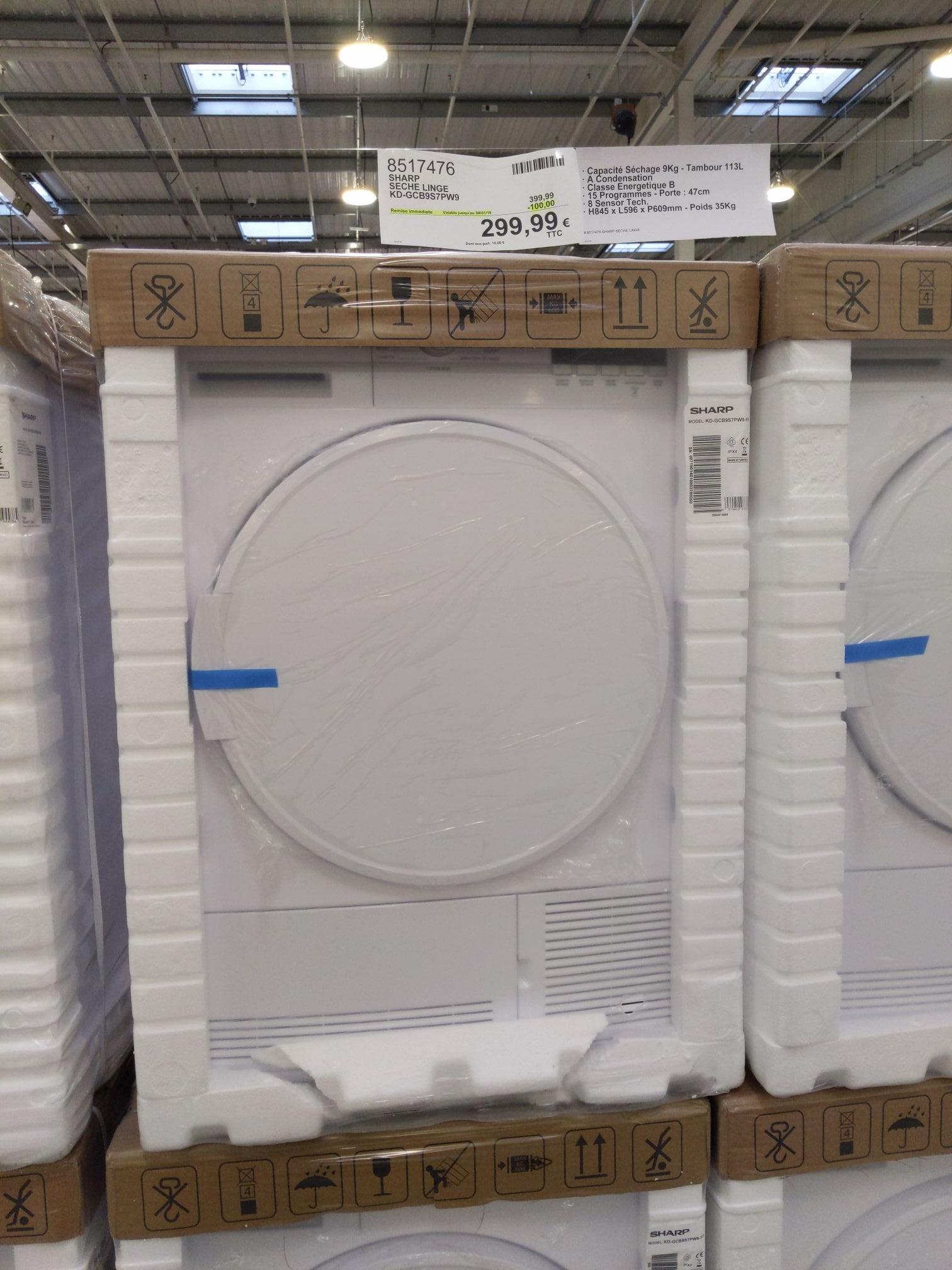 [Carte Costco] Sèche linge condensation Sharp KD-GCB9S7PW9 - 9kg (Villebon-sur-Yvette 91)