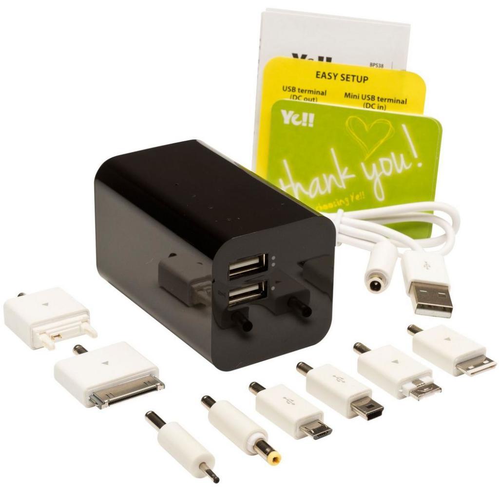 Batterie externe Ye! energy bar - 6600 mAh (pour tablette et smartphone) avec adaptateurs noir