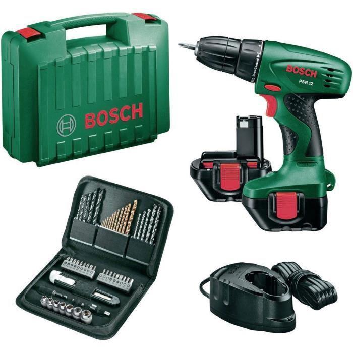Perceuse visseuse Bosch sans fil 12V avec 2 batteries nicd  1,2Ah + coffret 51 accessoires