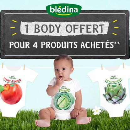 1 Body blédina offert pour 4 produits de la marque achetés