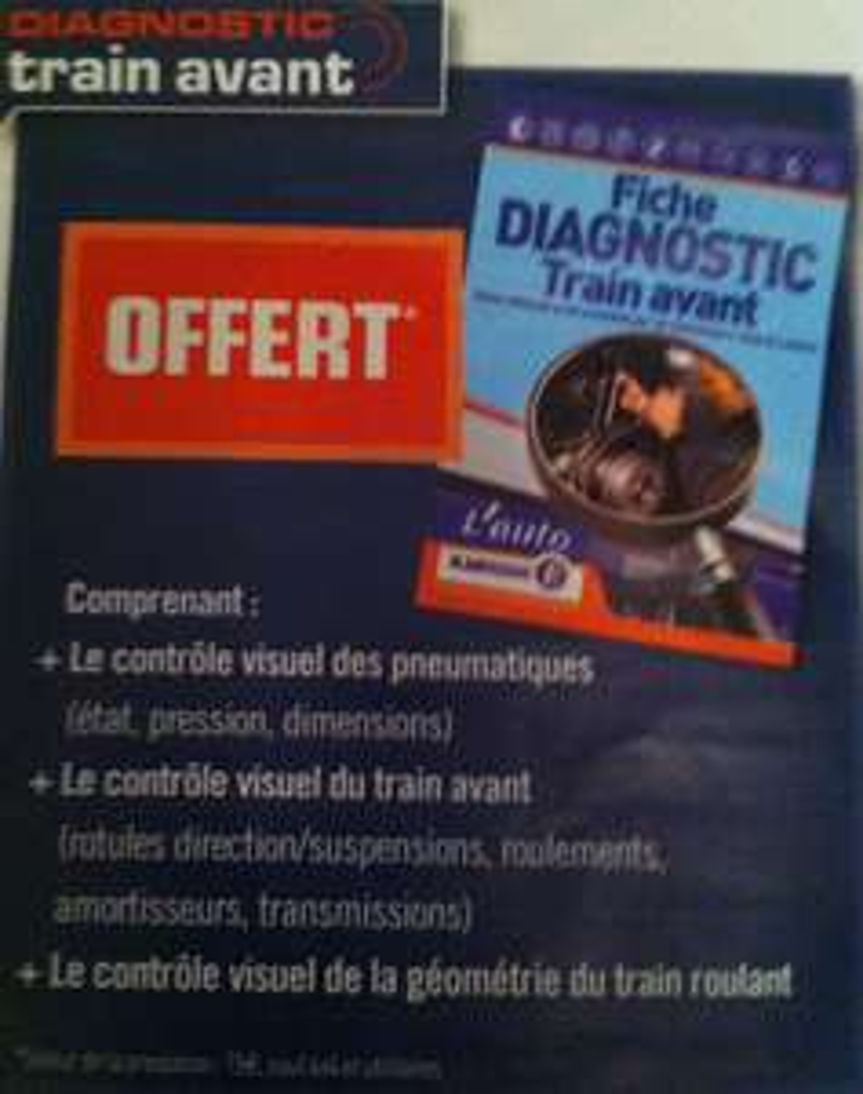 Fiche diagnostic train avant offert
