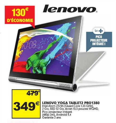 "Tablette 13.3"" Lenovo Yoga Tablet 2 Pro 1380 (Intel Atom Z3745, 2 Go RAM, SSD 32 Go)"