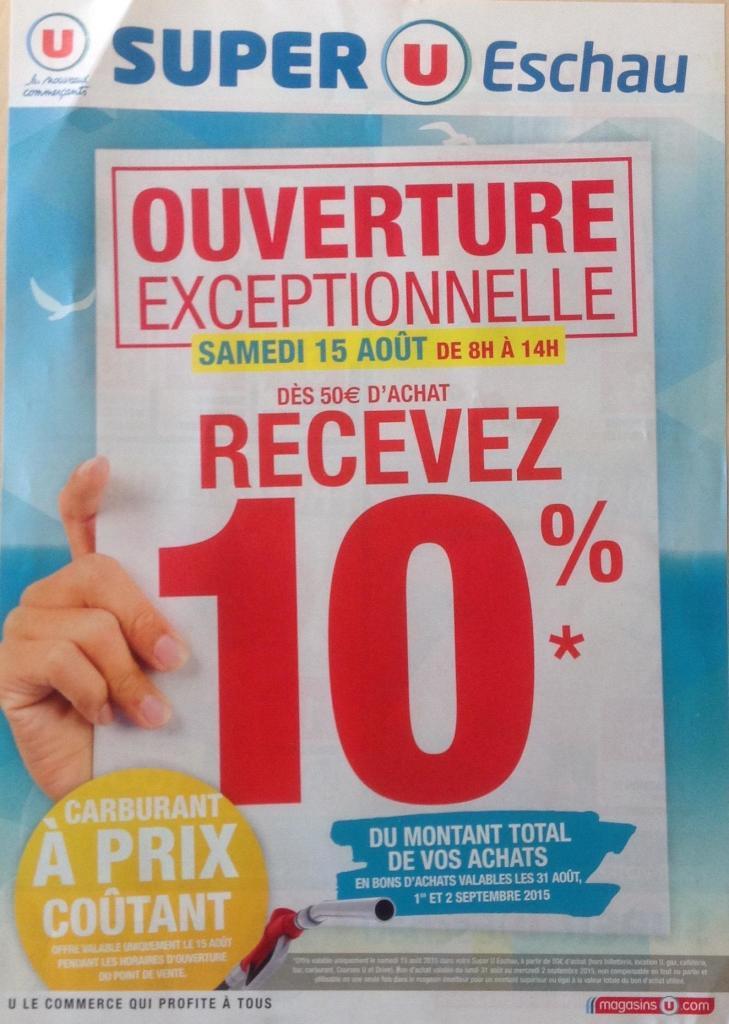10% en bons d'achat dès 50€ d'achat + carburant prix coûtant