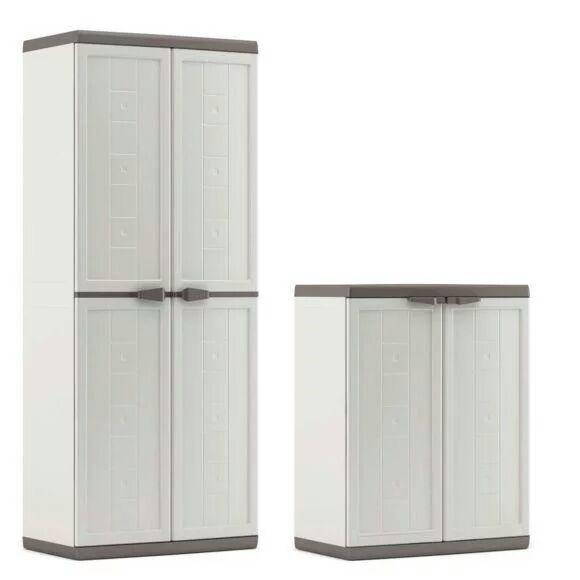 Lot de 2 armoires (haute et basse) en résine KIS Jolly (via 24,95€ sur la carte ) - blanc/gris - Crêche sur Sâone (71)