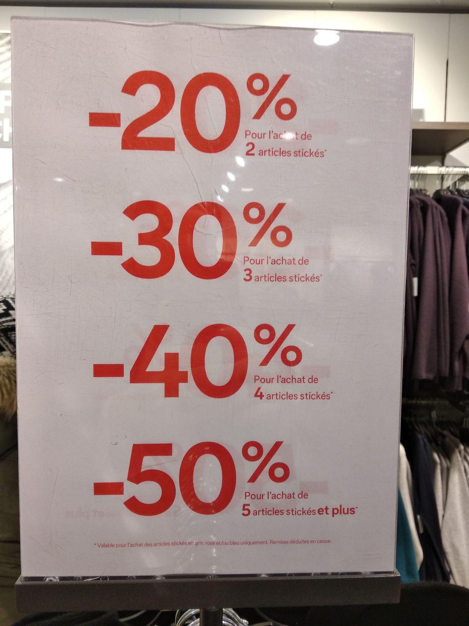 Jusqu'à 50% de réduction sur les articles signalés en magasin