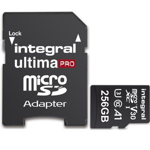 Carte mémoire MicroSDXC Integral UltimaPRO V30 (100MB/s) - 256 Go avec adaptateur SD