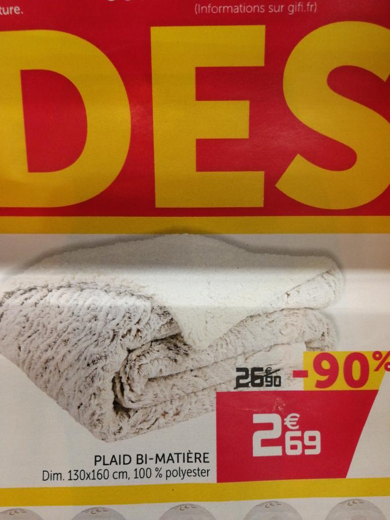 Sélection d'offres catalogue - Ex : Plaid Bi-matière - 130x160cm
