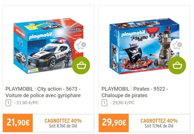 Jouet Playmobil City Action Voiture de police ou Playmobil Pirates Chaloupe de Pirates (via 11.95€ sur la carte fidélité)