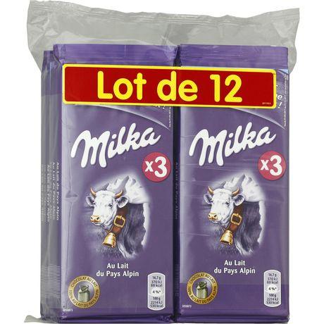 Lot de 12 Tablettes de chocolat au lait Milka - 100g (Taverny - 95)