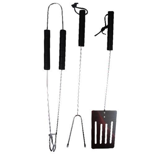 Set d'outils barbecue 3 pièces : 1 Spatule + 1 Pince + 1 Fourchette