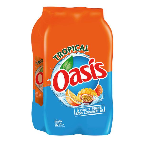 Pack de 4 bouteilles d'Oasis Tropical - 2L (via 3,35€ sur la carte fidélité)