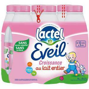 Pack de 6 bouteilles de lait Lactel Eveil Croissance Bébé - 6x1L (via 5.46€ sur la carte)