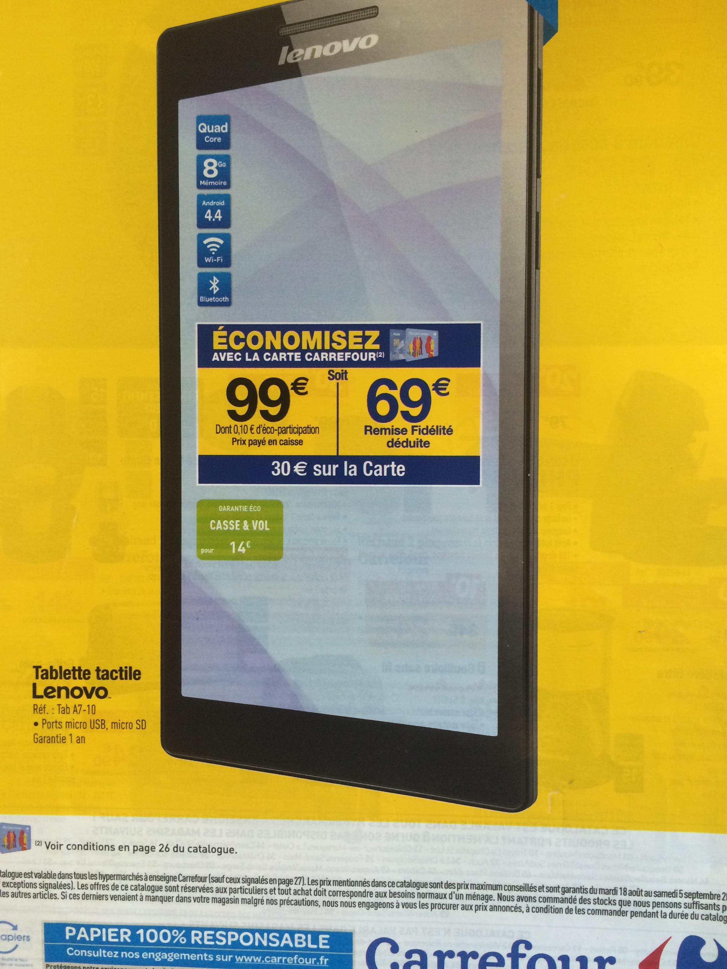 """Tablette 7"""" Lenovo Tab 2 A7-10 8 Go - Noir (avec 30€ sur la carte et  30€ ODR)  en magasin"""