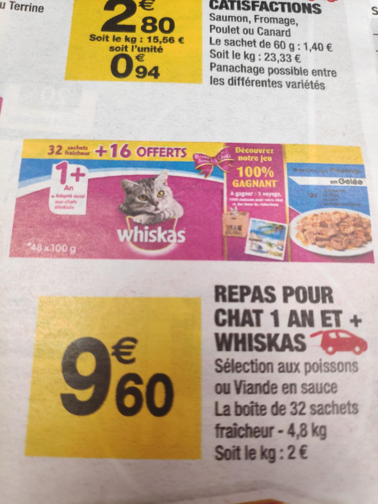 48 Sachets repas pour chat Whiskas