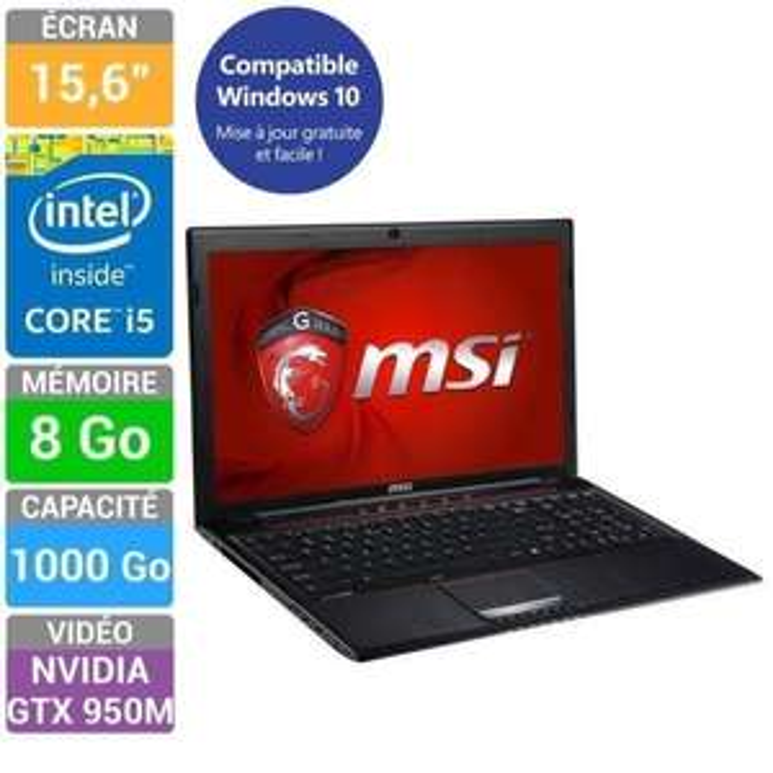 "PC Portable 15,6"" MSI (i5-4210H, RAM 8Go, GTX 950M, 1To)"