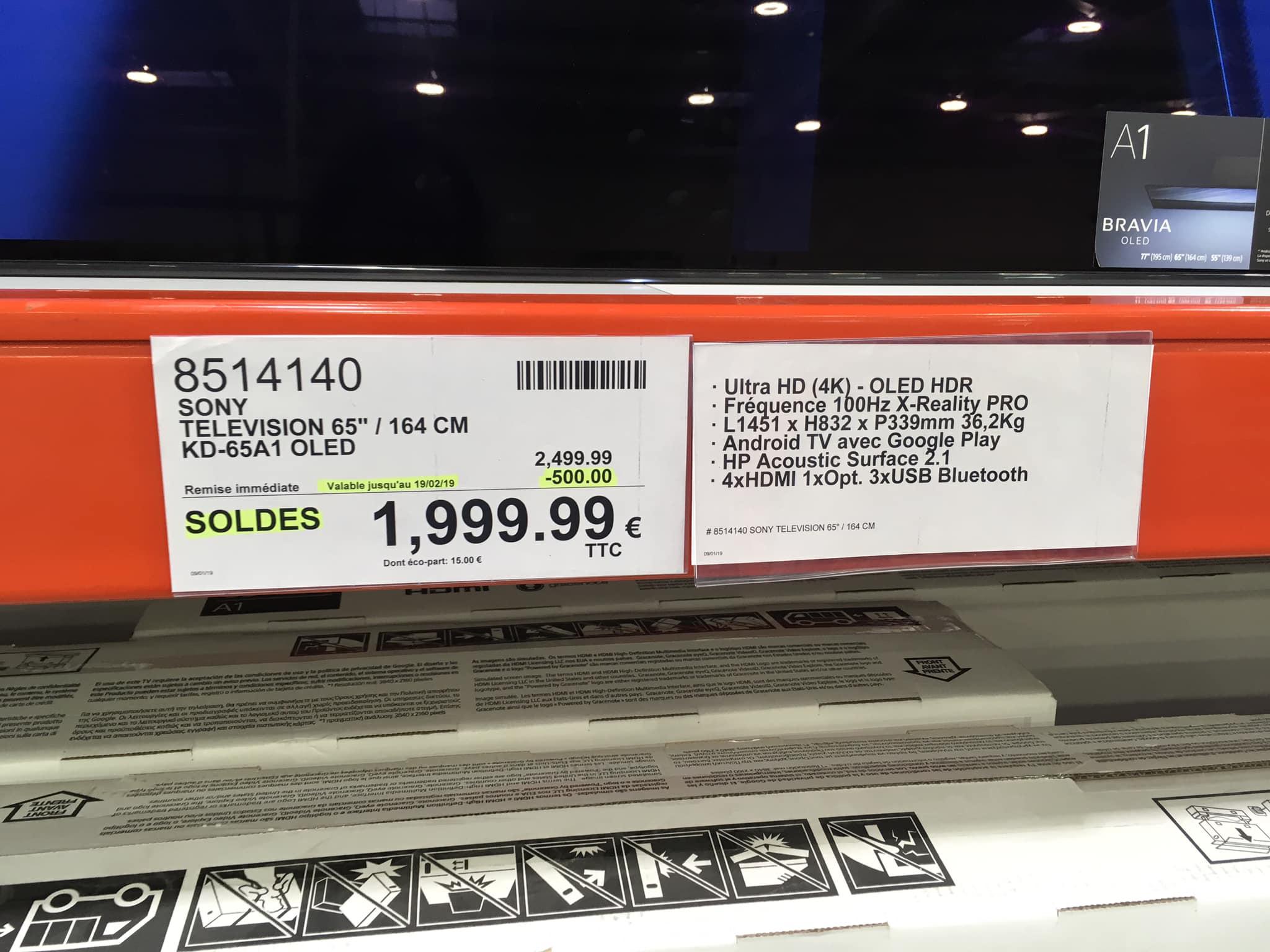 "[Carte Costco] TV 65"" Sony KD-65A1 - OLED, UHD 4K, Android TV - Costco Villebon (91)"