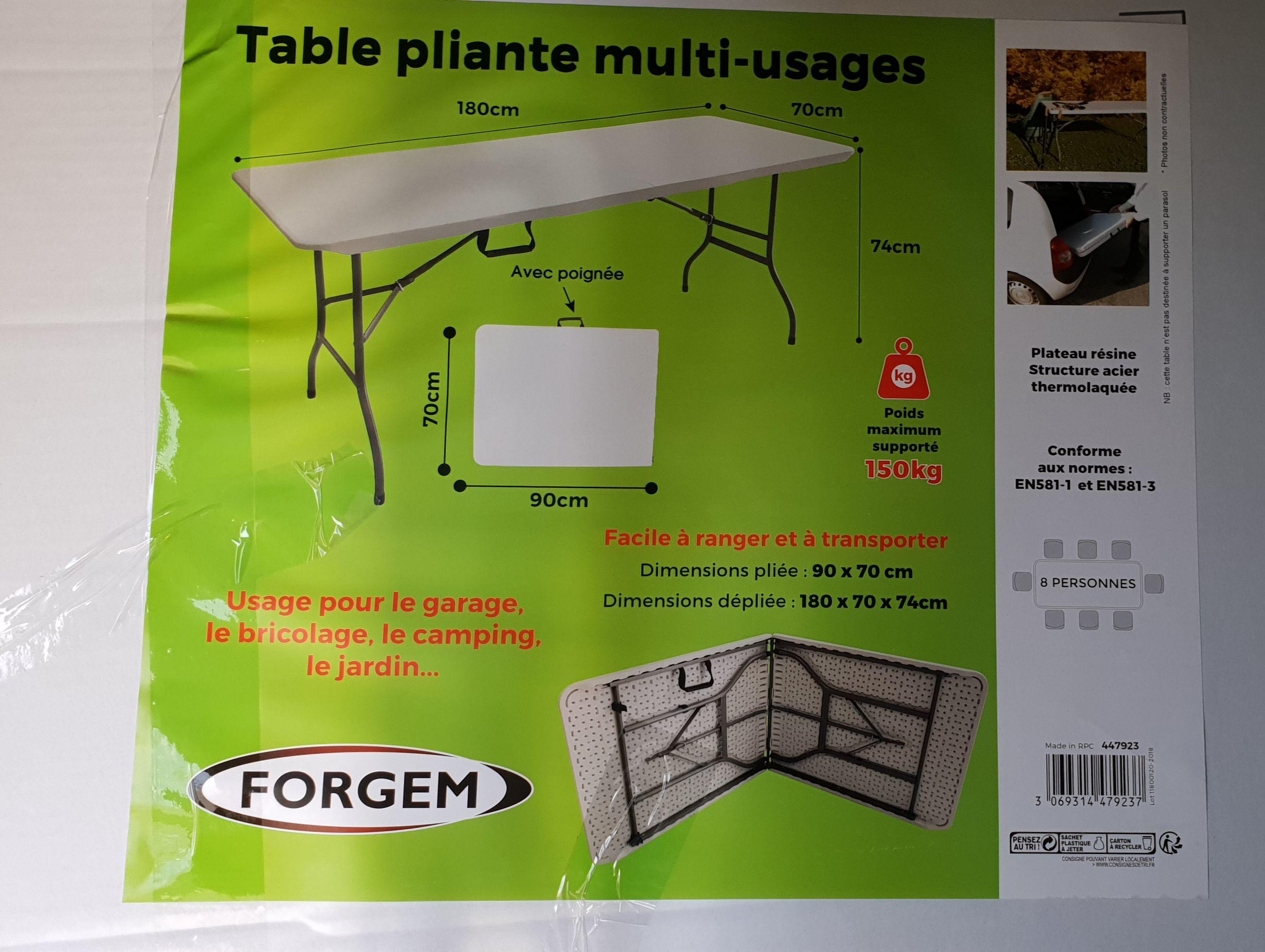 Table pliante multi-usages Forgem - Sannois (95)