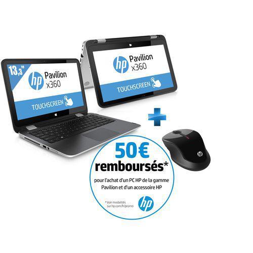 """PC Portable 13.3"""" HP Pavilion X360 13-A201NF - Argent (Hybride, Intel Core i3)  + Souris sans fil X3500 (via ODR 50€)"""