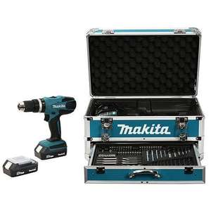 Perceuse sans fil à percussion Makita 18V Li-Ion 1.3Ah + 2 batteries + Coffret alu + Kit d'accessoires