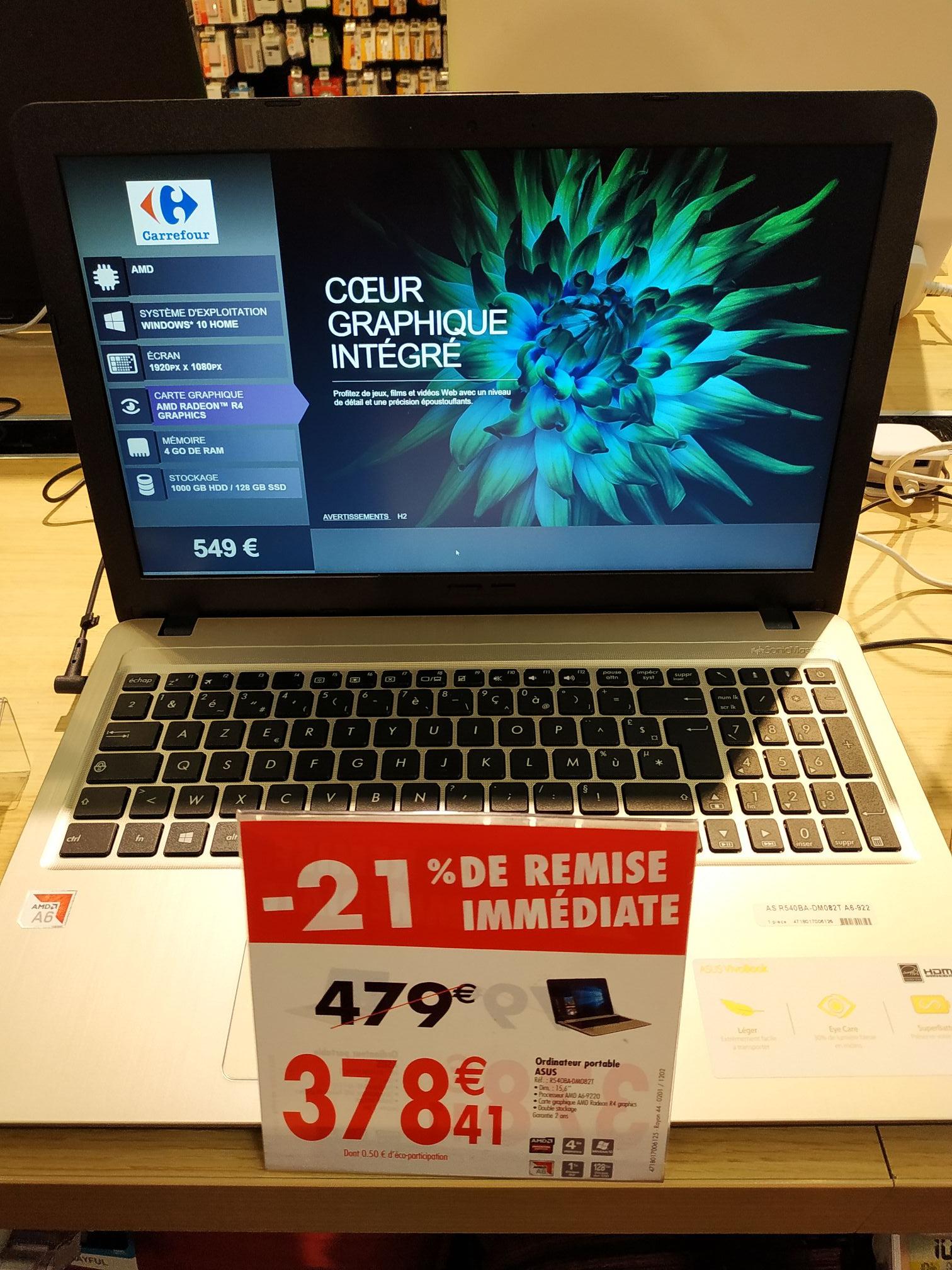 "PC portable 15.6"" Asus R540BA-DM082T (A6-9220, R4, 4 Go de RAM, 1 To + 128 Go en SSD) - Nice (06)"