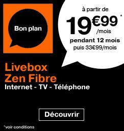 Jusqu'à -40% sur la Livebox Fibre et ADSL - Ex : Abonnement mensuel Livebox Zen Fibre pendant 1 an (location comprise) + 50€ offerts en chèques Kadéos ou 100€ en carte Auchan / Carrefour