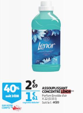 Assouplissant Lenor concentré (Via 1.08€ sur la Carte Fidélité +  BDR)