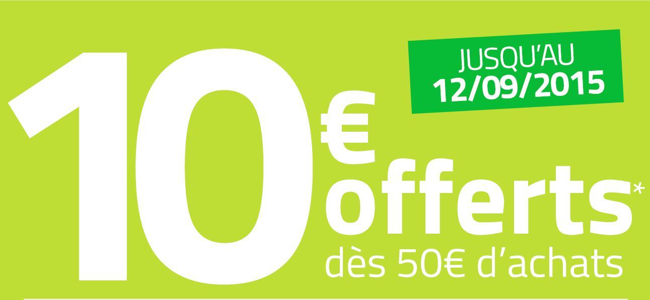 10€ de réduction dès 50€ d'achat pour les nouveaux clients