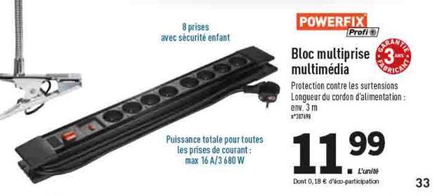 Bloc multiprise Powerfix parasurtenseur, 16A, 8 prises, garantie 3ans