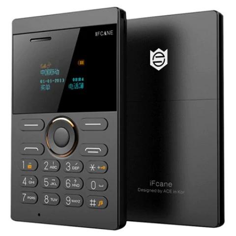 """Mini-téléphone 1"""" iFcane E1 - format carte, 64 Mo de RAM, 64 Mo, 320 mAh, Bluetooth"""