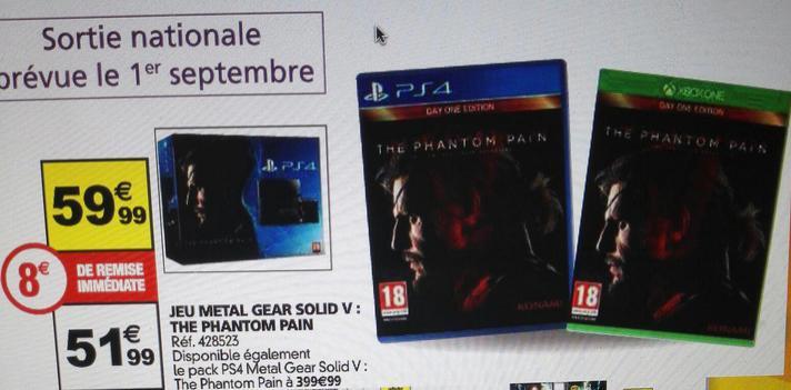 Jeu metal gear solid V : the phantom pain sur PS4 et Xbox One