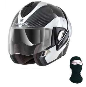 Casque Moto Modulable Shark Evoline Pro Carbon - Fibre de Carbone/Verre, Double Homologation, Compatible Intercom + Cagoule