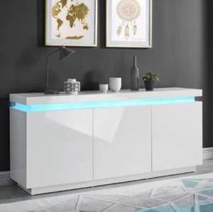 Buffet bas Odyssee LED contemporain - Blanc laqué brillant
