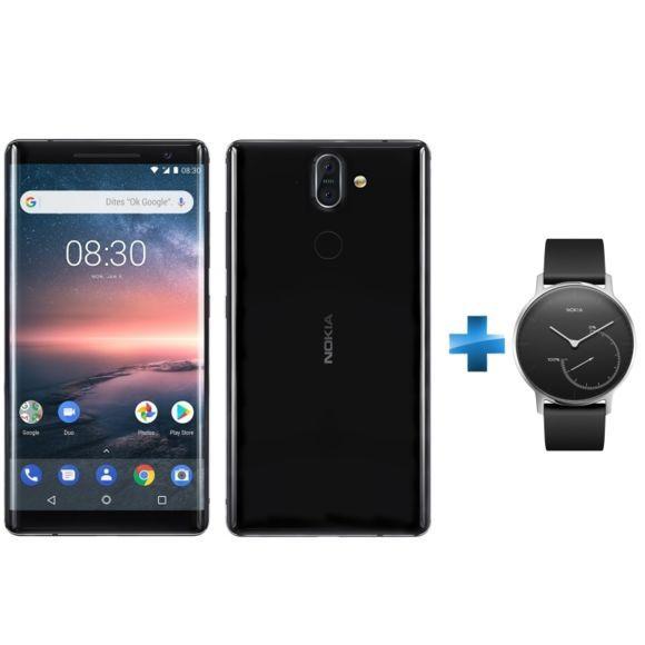 """Smartphone 5.5"""" Nokia 8 Sirocco - Noir + Montre connectée Steel Noir"""