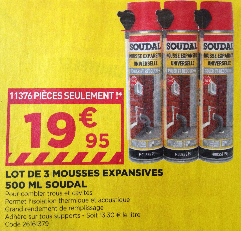 Lot de 3 mousses expansives Soudal - 500 ml - Cantal (15)