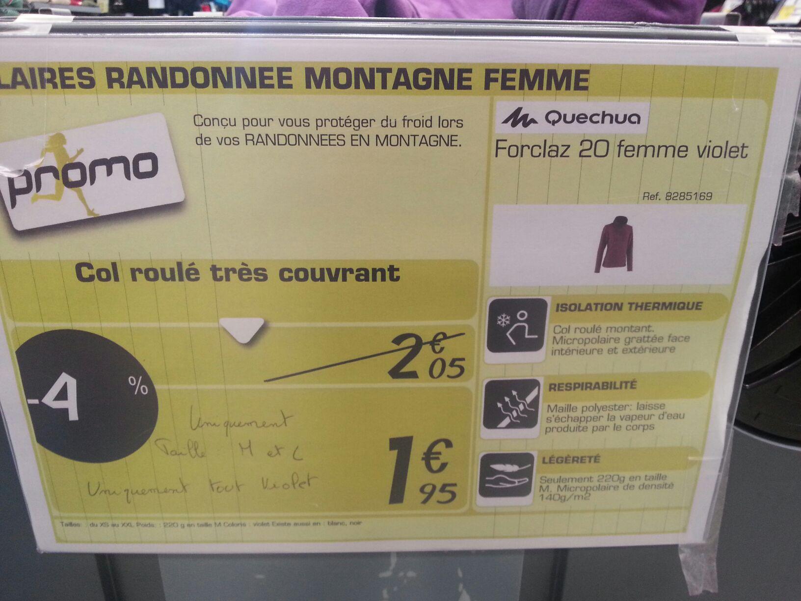 Polaire randonnee montagne Forclaz 20 femme (Tailles L et M)