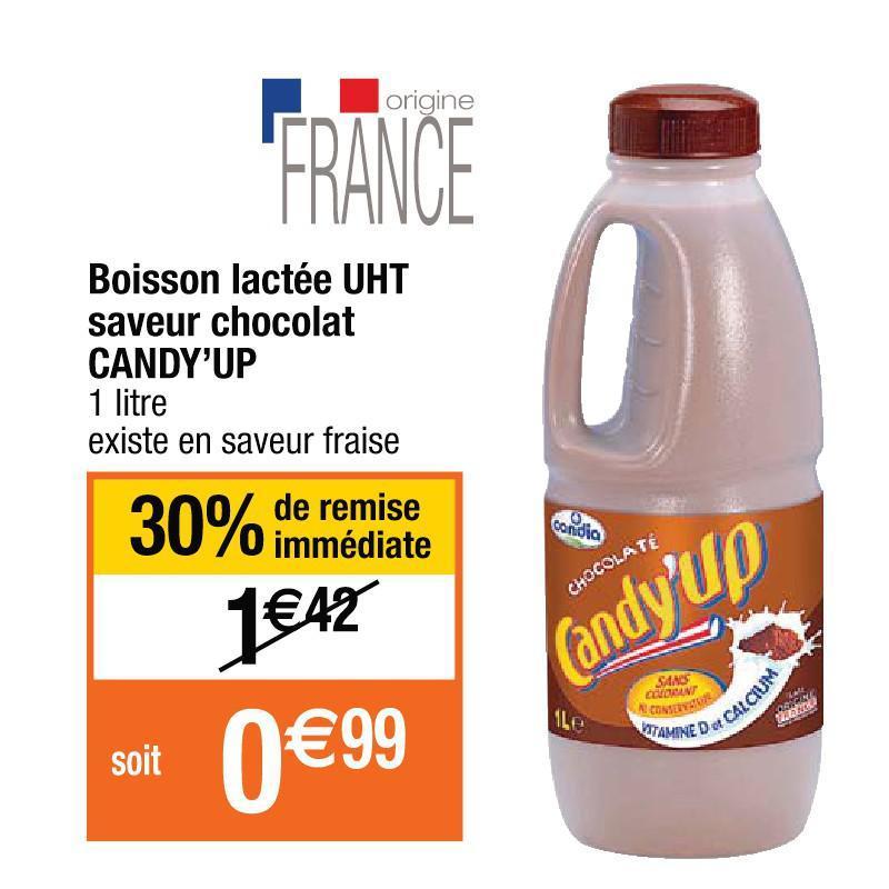 Boisson lactée Candy'up 1L gratuite (via remise immédiate + BDR)
