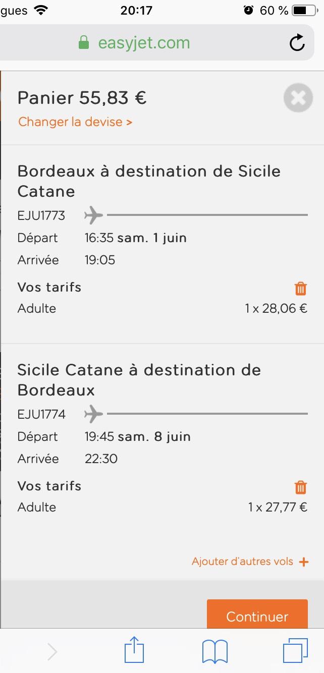 Sélection de vols A/R Bordeaux-Sicile CTA - Ex : A/R Bordeaux-Sicile du 01/06 au 08/06