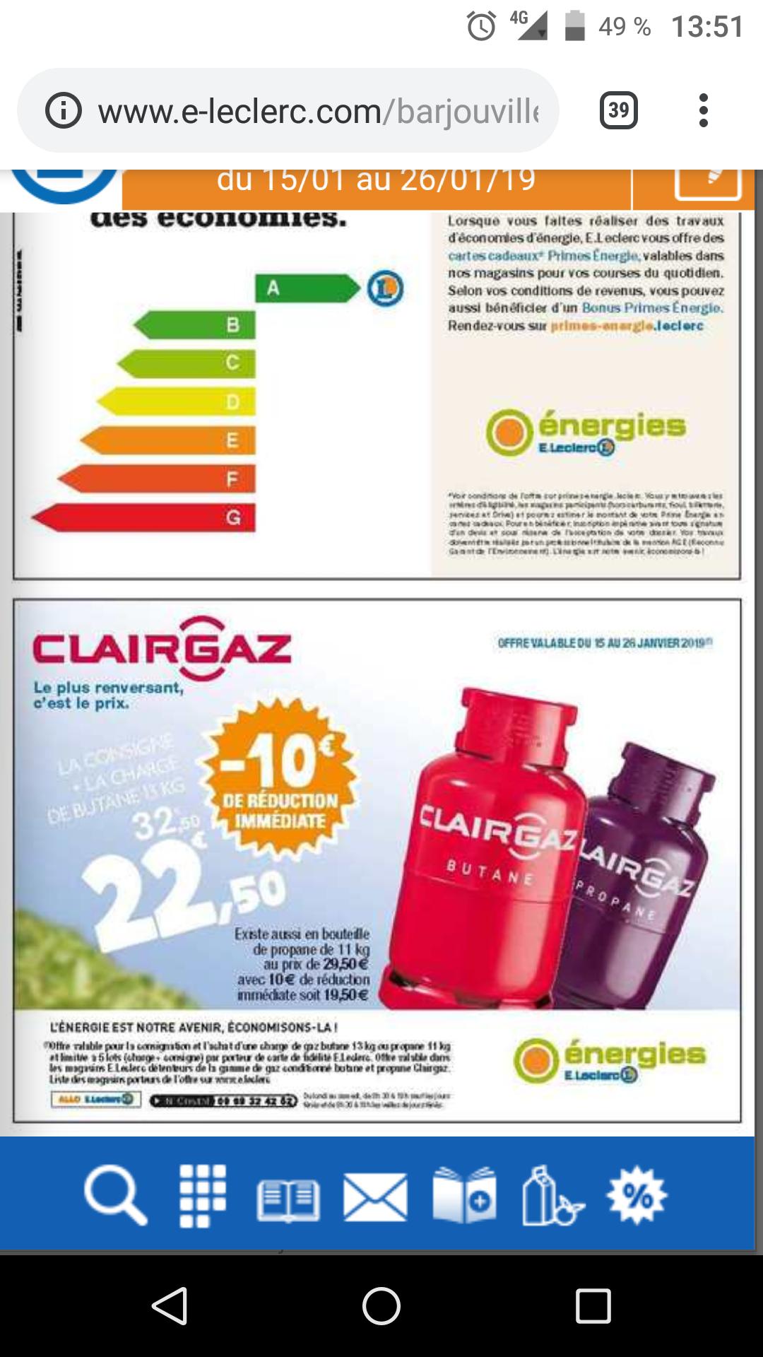 Bouteille de gaz ClairGaz Butane ou Propane - 13 kg (consigne + charge)