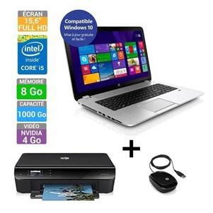 """PC Portable 15"""" HP Envy 15J164NF + Imprimante HP Envy 4503 + Souris HP X1200 (via ODR de 150€)"""