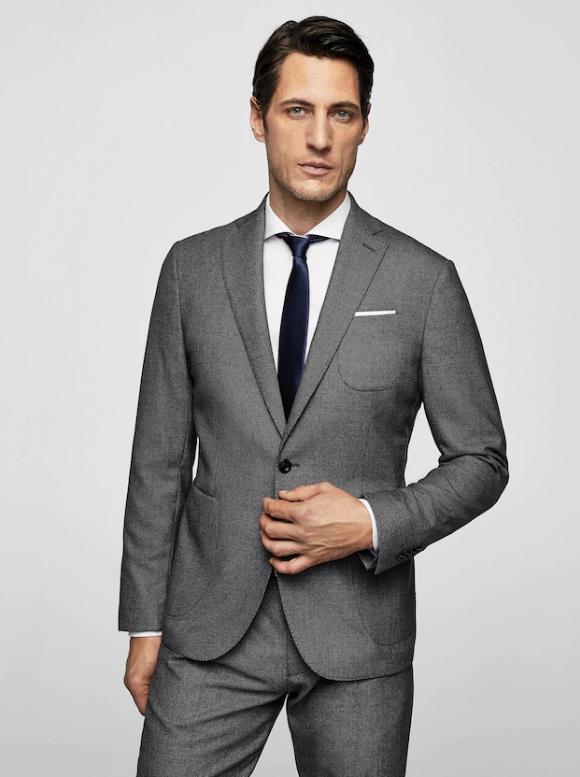 Sélection de vêtements Femme, Homme ou Enfants en promotion - Ex : veste de costume slim-fit Tailored (en laine, gris chiné)