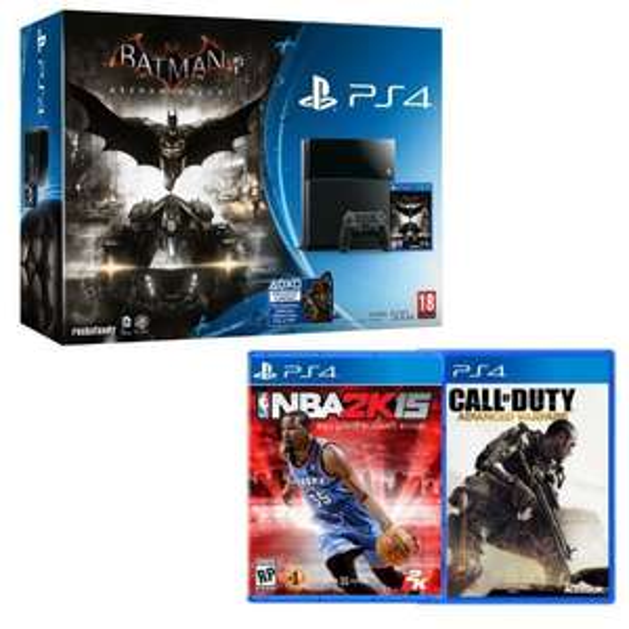 Pack Console Sony PS4 500 Go + Call Of Duty Advanced Warfare + Batman Arkham Knight + NBA 2k15