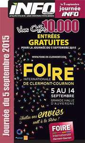 2 places gratuites pour la Foire Internationale de Clermont-Cournon